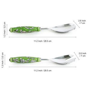 """The Mughal Zahri"" Hand-Painted Serving Spoon & Fork Set In Stainless Steel & Ceramic (Set of 2)"