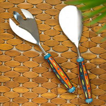 "Load image into Gallery viewer, ""The Mughal Aakar"" Hand-Painted  Serving Spoon & Fork Set In Stainless Steel & Ceramic (Set of 2)"