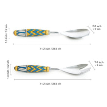 "Load image into Gallery viewer, ""The Mughal Paich Daar"" Hand-Painted Serving Spoon & Fork Set In Stainless Steel & Ceramic (Set of 2)"