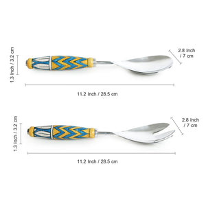 """The Mughal Paich Daar"" Hand-Painted Serving Spoon & Fork Set In Stainless Steel & Ceramic (Set of 2)"