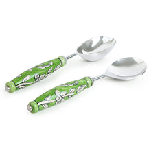 "Load image into Gallery viewer, ""The Mughal Zahri"" Hand-Painted Serving Spoon Set In Stainless Steel & Ceramic (Set of 2)"