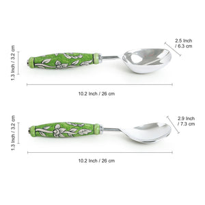 """The Mughal Zahri"" Hand-Painted Serving Spoon Set In Stainless Steel & Ceramic (Set of 2)"