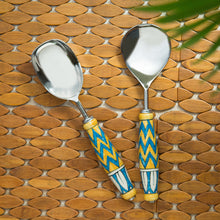 "Load image into Gallery viewer, ""The Mughal Paich Daar"" Hand-Painted Serving Spoon Set In Stainless Steel & Ceramic (Set of 2)"