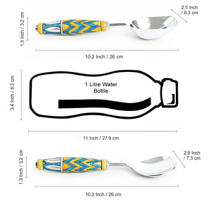 """The Mughal Paich Daar"" Hand-Painted Serving Spoon Set In Stainless Steel & Ceramic (Set of 2)"