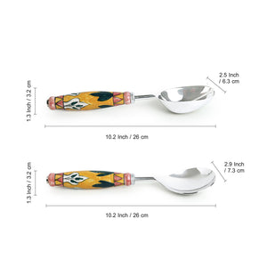 """The Mughal Patti"" Hand-Painted Serving Spoon Set In Stainless Steel & Ceramic (Set of 2)"