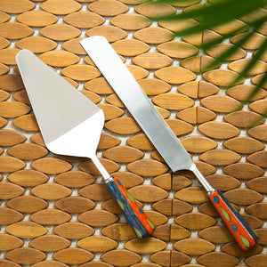 """The Mughal Aakar"" Hand-Painted Cake Server & Bread Knife In Stainless Steel & Ceramic (Set of 2)"