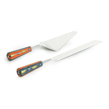 "Load image into Gallery viewer, ""The Mughal Aakar"" Hand-Painted Cake Server & Bread Knife In Stainless Steel & Ceramic (Set of 2)"