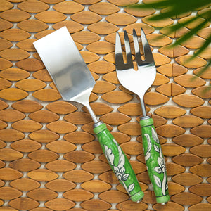 """The Mughal Zahri"" Hand-Painted Serving Fork & Scraper In Stainless Steel & Ceramic (Set of 2)"
