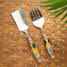 "Load image into Gallery viewer, ""The Mughal Patti"" Hand-Painted Serving Fork & Scraper In Stainless Steel & Ceramic (Set of 2)"