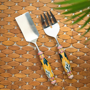 """The Mughal Patti"" Hand-Painted Serving Fork & Scraper In Stainless Steel & Ceramic (Set of 2)"