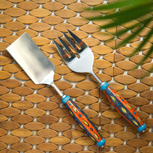 "Load image into Gallery viewer, ""The Mughal Aakar"" Hand-Painted Serving Fork & Scraper In Stainless Steel & Ceramic (Set of 2)"