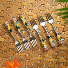 "Load image into Gallery viewer, ""The Mughal Patti"" Hand-Painted Table Forks In Stainless Steel & Ceramic (Set of 6)"