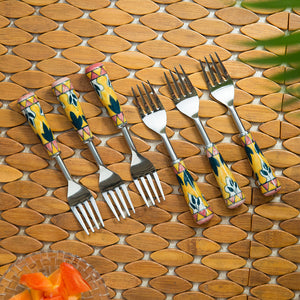 """The Mughal Patti"" Hand-Painted Table Forks In Stainless Steel & Ceramic (Set of 6)"