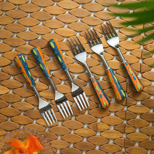 """The Mughal Aakar"" Hand-Painted Table Forks In Stainless Steel & Ceramic (Set of 6)"