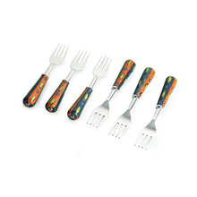 "Load image into Gallery viewer, ""The Mughal Aakar"" Hand-Painted Table Forks In Stainless Steel & Ceramic (Set of 6)"