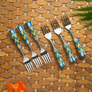 """The Mughal Paich Daar"" Hand-Painted Table Forks In Stainless Steel & Ceramic (Set of 6)"
