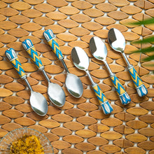 "Load image into Gallery viewer, ""The Mughal Paich Daar"" Hand-Painted Table Spoons In Stainless Steel & Ceramic (Set of 6)"