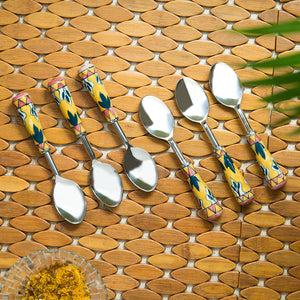 """The Mughal Patti"" Hand-Painted Table Spoons In Stainless Steel & Ceramic (Set of 6)"