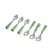 "Load image into Gallery viewer, ""The Mughal Zahri"" Hand-Painted Table Spoons In Stainless Steel & Ceramic (Set of 6)"