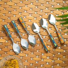 "Load image into Gallery viewer, ""The Mughal Aakar"" Hand-Painted Table Spoons In Stainless Steel & Ceramic (Set of 6)"