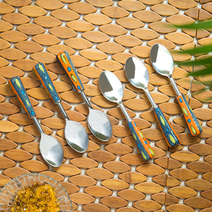 """The Mughal Aakar"" Hand-Painted Table Spoons In Stainless Steel & Ceramic (Set of 6)"