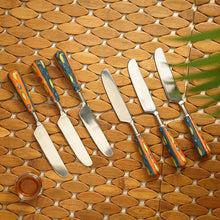 "Load image into Gallery viewer, ""The Mughal Aakar"" Hand-Painted Table Knives In Stainless Steel & Ceramic (Set of 6)"