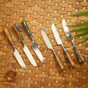 """The Mughal Aakar"" Hand-Painted Table Knives In Stainless Steel & Ceramic (Set of 6)"