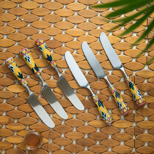 """The Mughal Patti"" Hand-Painted Table Knives In Stainless Steel & Ceramic (Set of 6)"