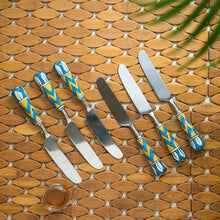"Load image into Gallery viewer, ""The Mughal Paich Daar"" Hand-Painted Table Knives In Stainless Steel & Ceramic (Set of 6)"