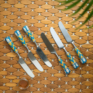 """The Mughal Paich Daar"" Hand-Painted Table Knives In Stainless Steel & Ceramic (Set of 6)"