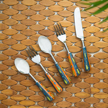 "Load image into Gallery viewer, ""The Mughal Aakar"" Hand-Painted Table Cutlery Set In Stainless Steel & Ceramic (Set of 5)"