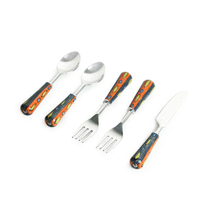 """The Mughal Aakar"" Hand-Painted Table Cutlery Set In Stainless Steel & Ceramic (Set of 5)"