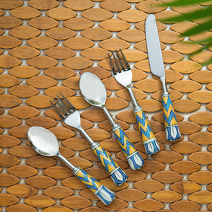 """The Mughal Paich Daar"" Hand-Painted Table Cutlery Set In Stainless Steel & Ceramic (Set of 5)"