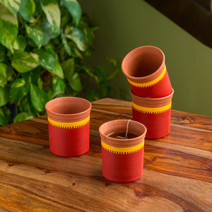 """Red Sips"" Warli Hand-Painted Coffee & Tea Kullads In Earthen Terracotta (Set Of 4, Red)"