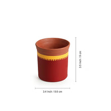 "Load image into Gallery viewer, ""Red Sips"" Warli Hand-Painted Coffee & Tea Kullads In Earthen Terracotta (Set Of 4, Red)"