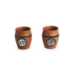 """Dancing Sips"" Warli Hand-Painted Coffee & Tea Kullads In Earthen Terracotta (Set Of 4, Brown)"
