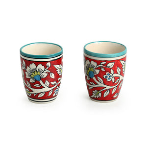 """Mughal Rims"" Floral Hand-painted Tea & Coffee Mugs In Ceramic (Set of 2)"