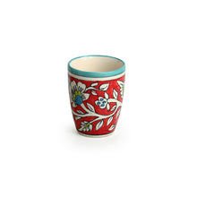"Load image into Gallery viewer, ""Mughal Rims"" Floral Hand-painted Tea & Coffee Mugs In Ceramic (Set of 2)"