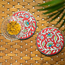 "Load image into Gallery viewer, ""Mughal Rounds"" Floral Hand-painted Trivets In Ceramic (Set of 2)"