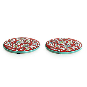 """Mughal Rounds"" Floral Hand-painted Trivets In Ceramic (Set of 2)"