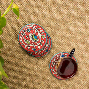 """Mughal Disks"" Floral Hand-painted Coasters In Ceramic (Set of 4)"