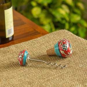 """Mughal Helix"" Floral Hand-painted Wine Bottle Opener & Stopper In Ceramic (Set of 2)"