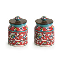 "Load image into Gallery viewer, ""Mughal Cylindrical Duo"" Floral Hand-painted Multi Utility Storage Jars & Containers In Ceramic (Non-Airtight, Set of 2, 380 ML, 5.2 Inch)"