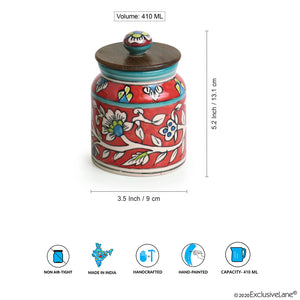 """Mughal Cylindrical Duo"" Floral Hand-painted Multi Utility Storage Jars & Containers In Ceramic (Non-Airtight, Set of 2, 380 ML, 5.2 Inch)"