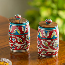 "Load image into Gallery viewer, ""Mughal Drum Duo"" Floral Hand-painted Multi Utility Storage Jars & Containers In Ceramic (Non-Airtight, Set of 2, 570 ML, 6.1 Inch)"