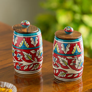"""Mughal Drum Duo"" Floral Hand-painted Multi Utility Storage Jars & Containers In Ceramic (Non-Airtight, Set of 2, 570 ML, 6.1 Inch)"