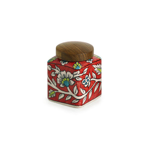 """Mughal Cuboidal"" Floral Hand-painted Multi Utility Storage Jar & Container In Ceramic (Airtight, 240 ML, 3.8 Inch)"