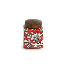 "Load image into Gallery viewer, ""Mughal Cuboidal"" Floral Hand-painted Multi Utility Storage Jar & Container In Ceramic (Airtight, 240 ML, 3.8 Inch)"