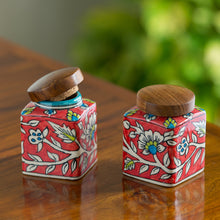 "Load image into Gallery viewer, ""Mughal Cuboidal Pair"" Floral Hand-painted Multi Utility Storage Jars & Containers In Ceramic (Airtight, Set of 2, 240 ML, 3.8 Inch)"