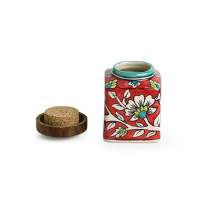 """Mughal Cuboidal Pair"" Floral Hand-painted Multi Utility Storage Jars & Containers In Ceramic (Airtight, Set of 2, 240 ML, 3.8 Inch)"